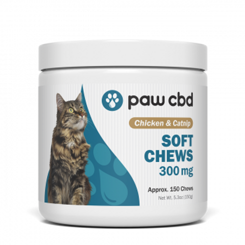 Pet CBD Soft Chews for Cats - Chicken & Catnip - 300 mg - 150 Count