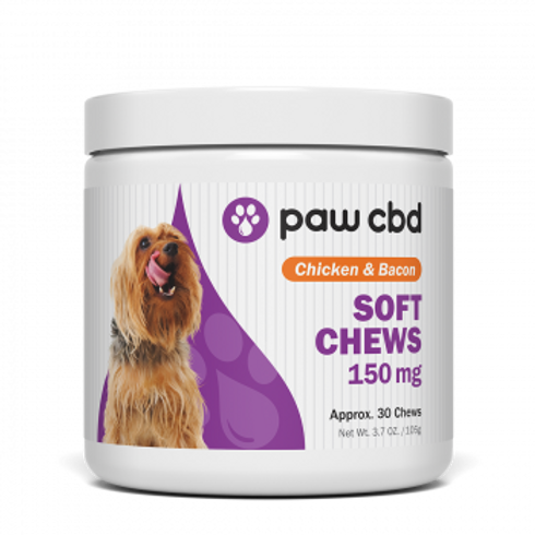 Pet CBD Soft Chews for Dogs  Chicken & Bacon - 150 mg - 30 Count