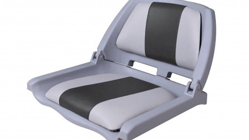 Seat plastic with upholstery and Marine logo grey-brown