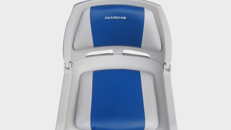 Seat plastic with upholstery and Marine logo grey-blue