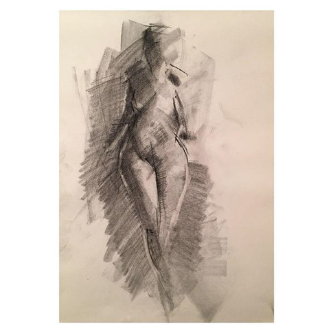 7min _nitramcharcoal charcoal drawing of _violet.empire Thursday night life drawing with The Salacious Sirens at The Antelope, Tooting.jpg
