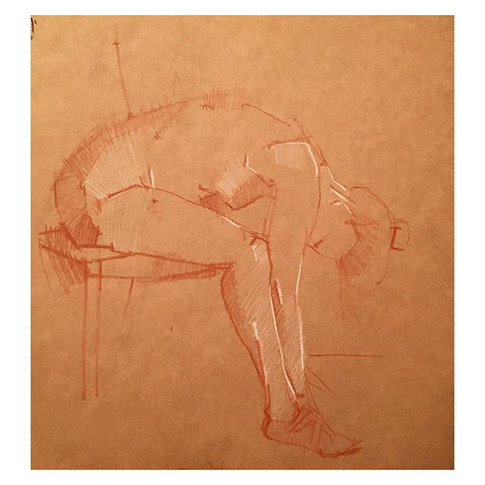 12min conte drawing of _violet.empire Thursday night life drawing with The Salacious Sirens at The Antelope, Tooting.jpg