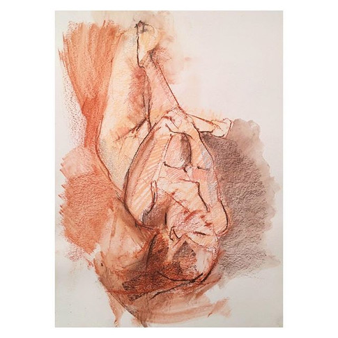 20min conte drawing with wash of _violet.empire Thursday night life drawing with The Salacious Sirens at The Antelope, Tooting.jpg