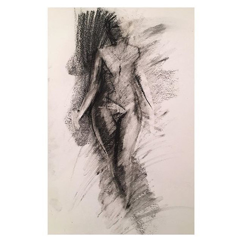 The drawings this session involved the model walking and stopping to hold a pose. 10min charcoal drawing of _violet.jpg