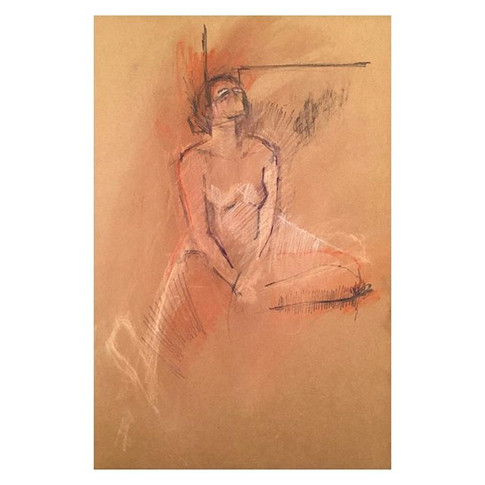 Colour conte drawing of _violet.empire . Traditional nude night.jpg