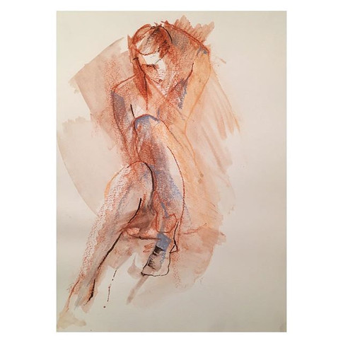 17min conte drawing with wash of _violet.empire Thursday night life drawing with The Salacious Sirens at The Antelope, Tooting.jpg