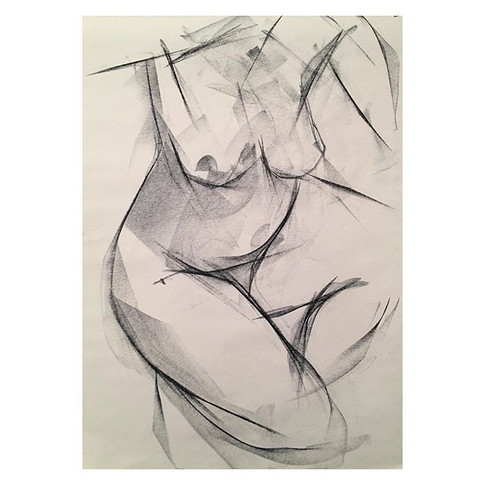 2min study of the wonderful _tizianacostemodel at Tuesday night life drawing _love2sketchuk at The Selkirk Tooting #2minute #drawing #art #l