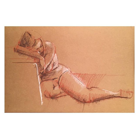 25min study of Dina at Tuesday night life drawing _love2sketchuk at The Selkirk Tooting #25minute #drawing #art #lifedrawing #conte #conteap