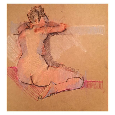 20min study of Mimmi at Tuesday night life drawing _love2sketchuk at The Selkirk Tooting #20minute #drawing #art #lifedrawing #conte #contea