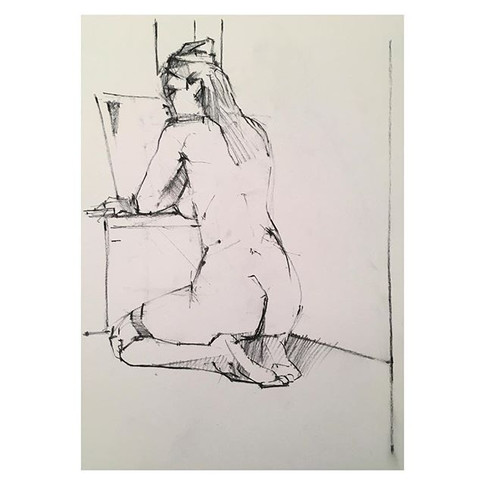 Another great pose. 15min charcoal drawing of _violet.empire taking it back to 1940s.jpg
