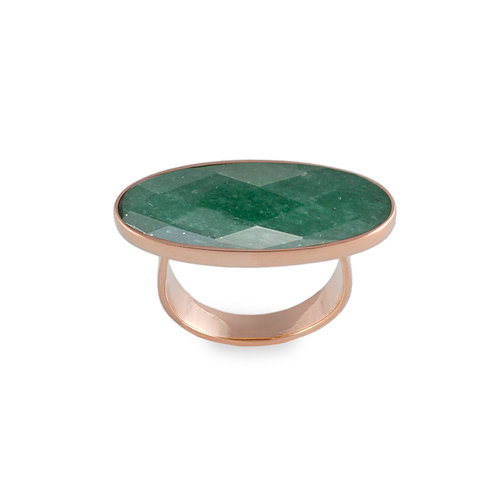 Anel Contemporâneo Quartzo Verde