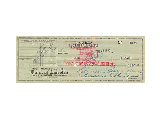 LUCILLE BALL Signed Cheque