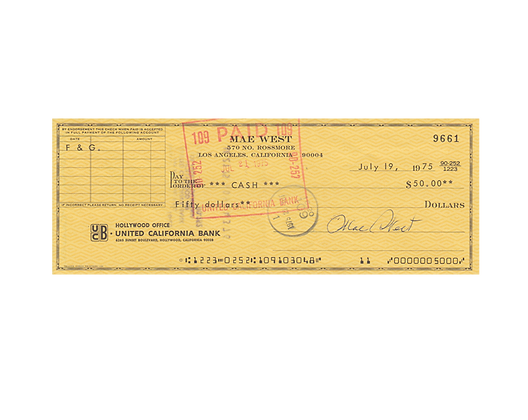MAE WEST Signed Cheque