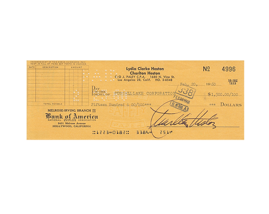 CHARLTON HESTON Signed Cheque