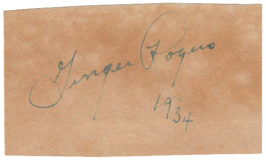 GINGER ROGERS Autograph