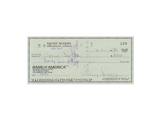 KENNY ROGERS Signed Cheque