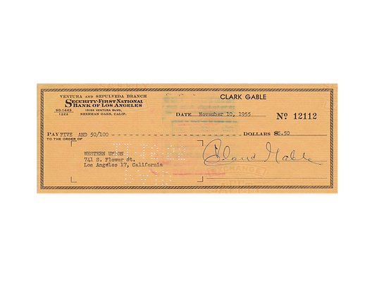 CLARK GABLE Signed Cheque