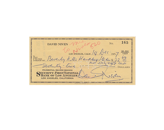 DAVID NIVEN Signed Cheque
