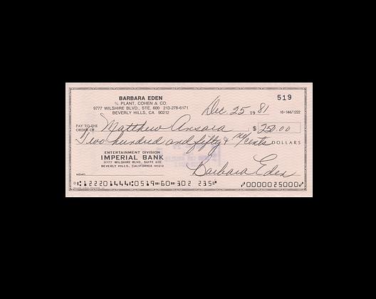 BARBARA EDEN Signed Cheque