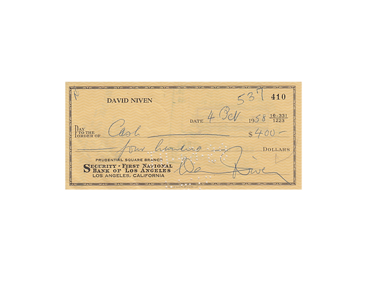 DAVID NIVEN Signed Cheque