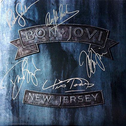 BON JOVI Band Signed LP Sleeve