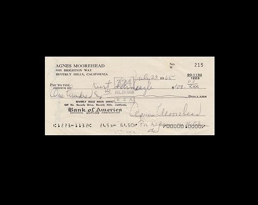 AGNES MOOREHEAD Signed Cheque