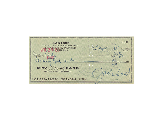 JACK LORD Signed Cheque