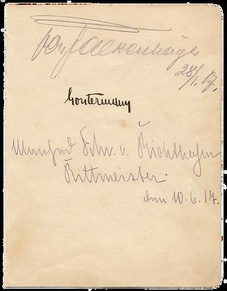 BARON VON RICHTOFEN Signature
