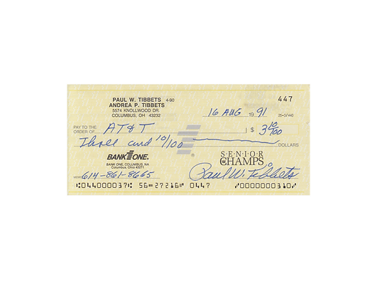 PAUL TIBBETTS (Enola Gay) Signed Cheque