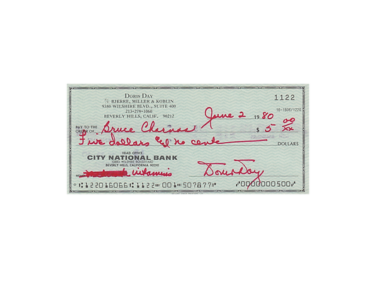 DORIS DAY Signed Cheque