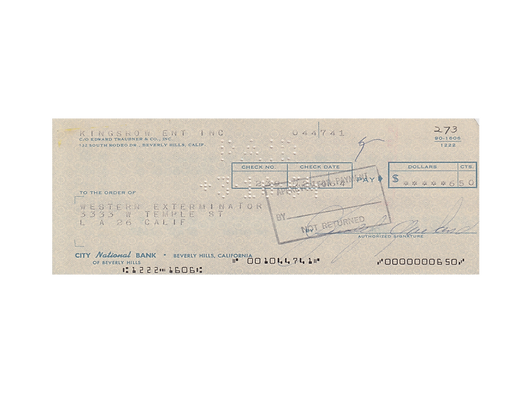 JUDY GARLAND Signed Cheque