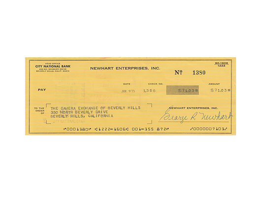 BOB NEWHART Signed Cheque
