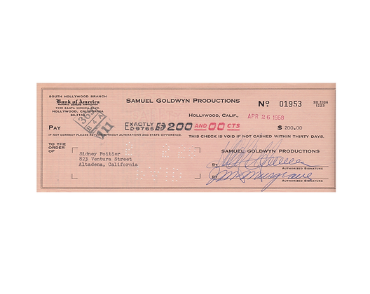 SIDNEY POITIER Signed Cheque