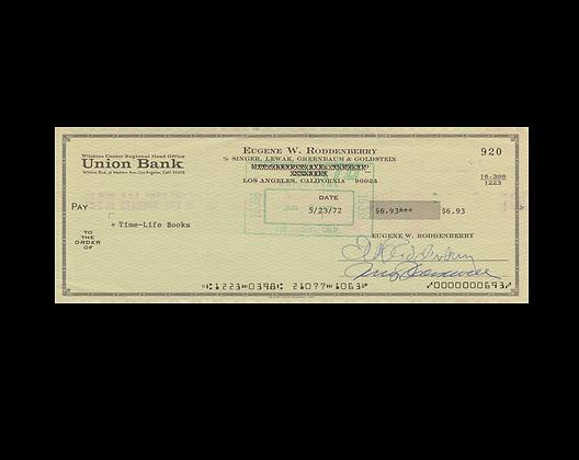 GENE RODDENBERRY Signed Cheque