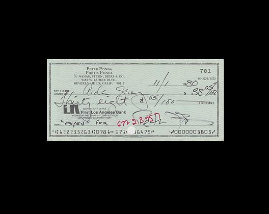 PETER FONDA Signed Cheque