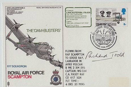 RICHARD TODD DAMBUSTER Signed Postal Cover
