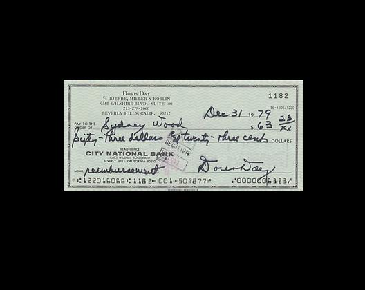 DORIS DAY Signed Cheque