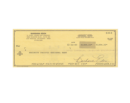BARBARA EDEN Signed Cheque