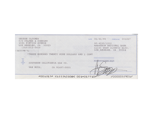 GEORGE CLOONEY Signed Cheque