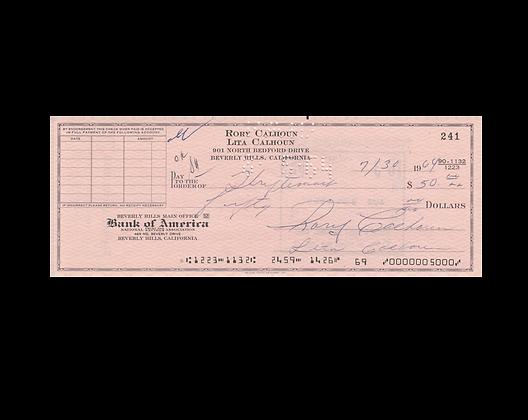 RORY CALHOUN Signed Cheque