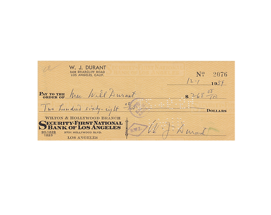 WILL DURANT Signed Cheque