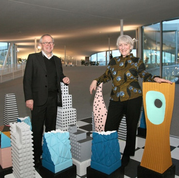 Chess Set with Kees Christiaanse in Sanaa's Rolex Centre, Lausanne, 2011