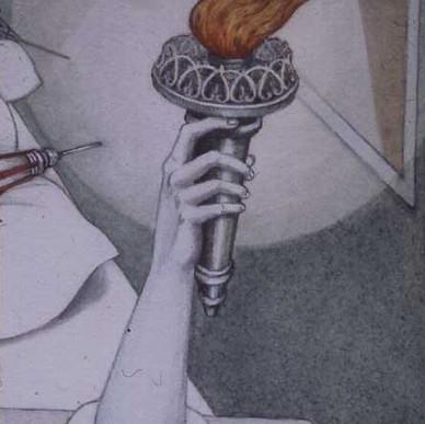 Liberty Lamp detail from Flagrant Délit, 1975