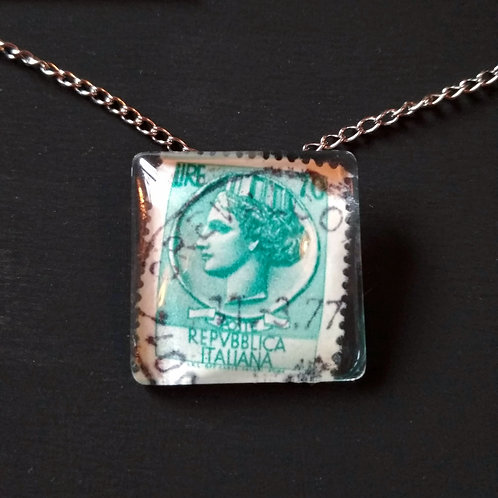 Syracuse Coin Stamp Pendant by PostcardSisters