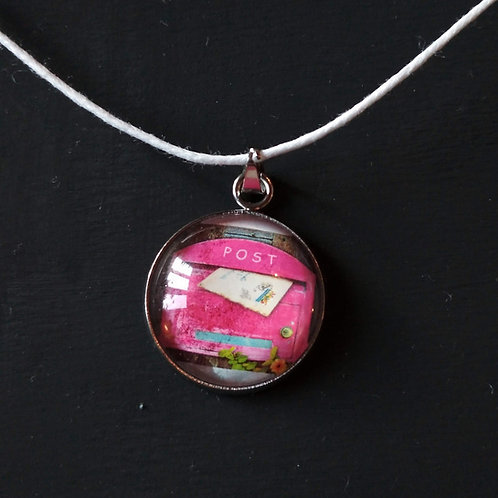 Necklace with stamp pendant - Pink Postbox - Stamplover Handmade Jewel