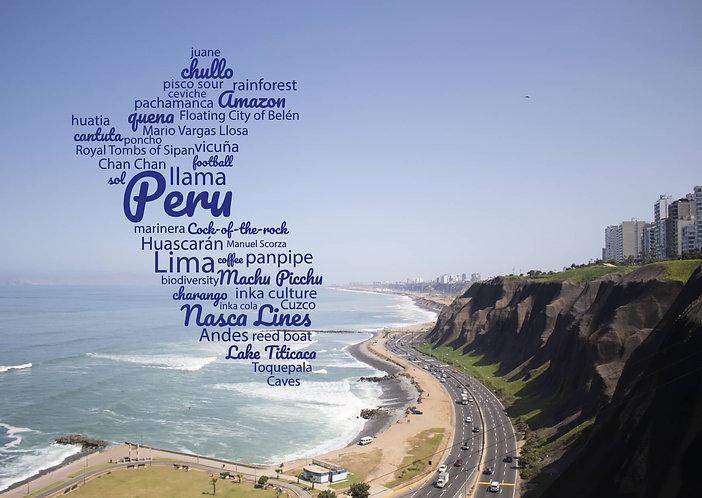 Peru WordCloud postcard