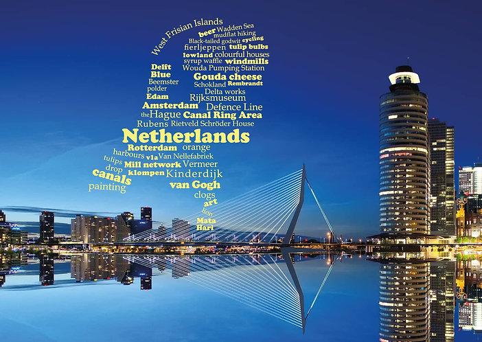 The Netherlands WordCloud postcard