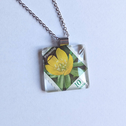 Necklace with stamp pendant - Winter Aconite - Stamp'n Glass Handmade Jewelry