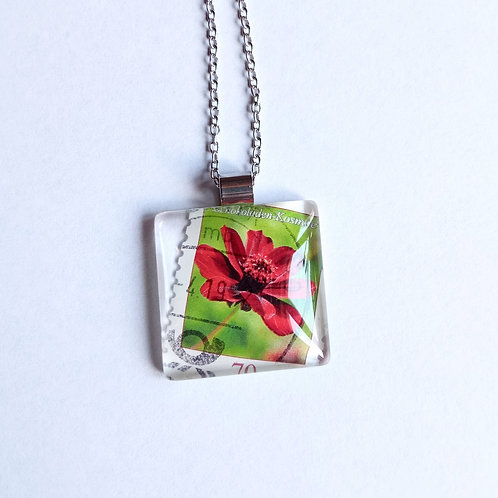Necklace with stamp pendant - Red Flower - Stamp'n Glass Handmade Jewelry