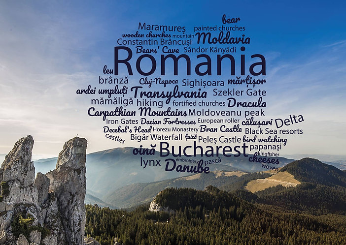 Romania WordCloud Postcard by PostcardSisters